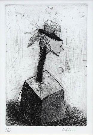 Art work by firma Illeggibile Figura surrealista - lithography paper
