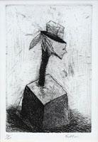Quadro di firma Illeggibile - Figura surrealista litografia carta
