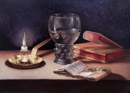 Quadro di  Anonimo Composizione antica (Riproduzione di P.Claesz) - olio rame