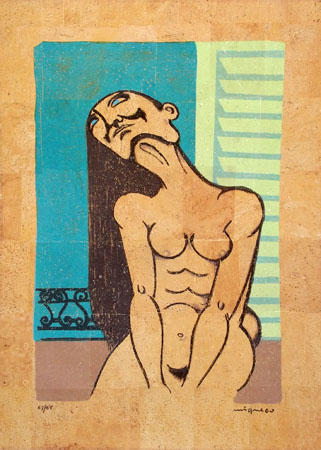 Art work by Giuseppe Migneco Figura femminile - lithography cork