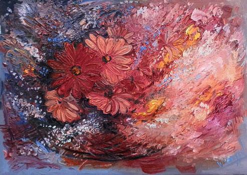 Quadro di Vanessa Katrin Fiori e vento - olio tela