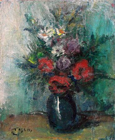 Quadro di Ermanno Toschi  Vaso di fiori - olio faesite