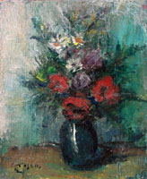 Quadro di Ermanno Toschi  - Vaso di fiori olio faesite