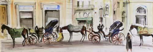 Quadro di Rodolfo Marma Le carrozzelle - acquerello carta