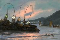Quadro di G. Carli - Pescatori olio cartone telato