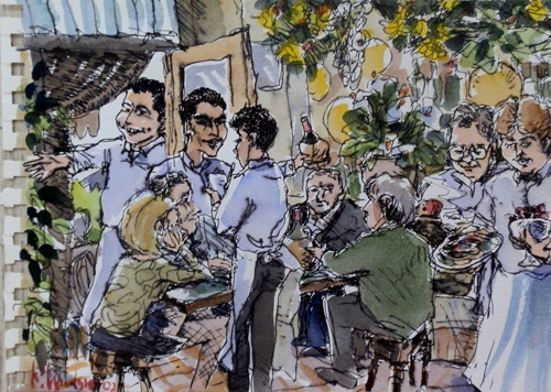 Art work by firma Illeggibile Al ristorante - watercolor paper