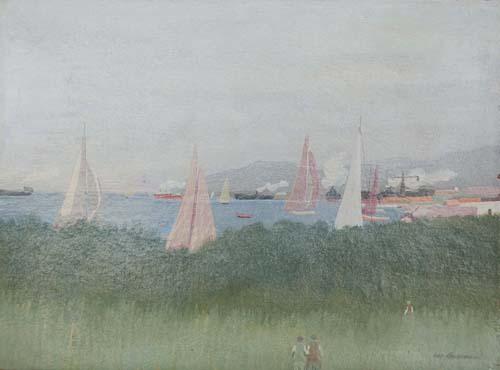 Quadro di Marcello Boccacci Paesaggio di Porto Ercole - olio tavola