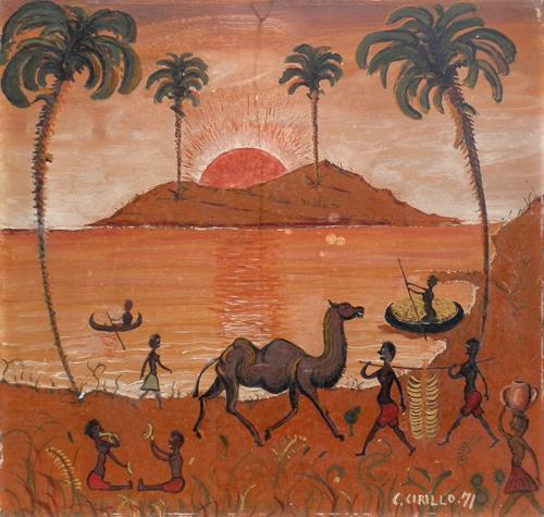 Quadro di C. Cirillo Tra gli indigeni d'Africa - olio faesite