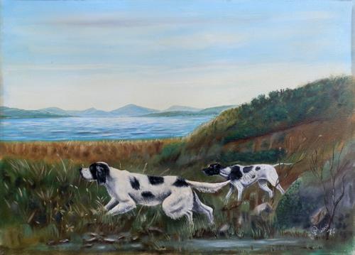 Quadro di firma Illeggibile Paesaggio con cani - olio tela