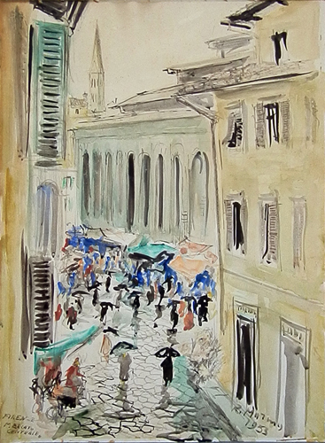 Quadro di Rodolfo Marma Mercato Centrale - acquerello carta