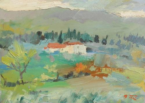 Quadro di Gino Tili Paesaggio - olio faesite