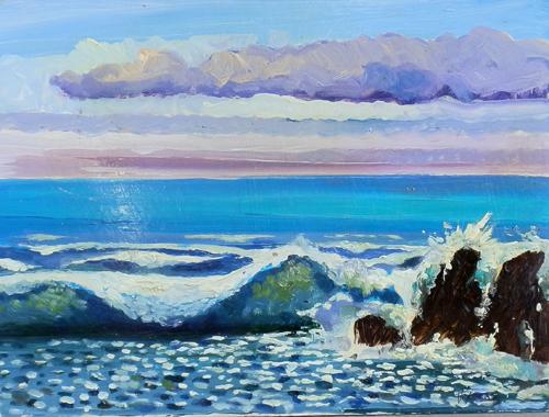 Art work by Luigi Pignataro Paesaggio marino - oil cardboard