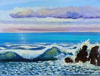 Quadro di Luigi Pignataro - Paesaggio marino olio cartone