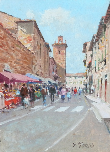 Art work by Graziano Marsili Giorno di mercato all'Impruneta - oil canvas cardboard
