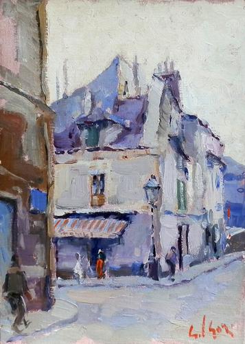 Quadro di Gino Paolo Gori Parigi - Montmartre - olio cartone telato