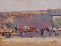 Quadro di Franco Mazzaccherini  Cavalli con Barroccio  in piazza San Marco a Livorno