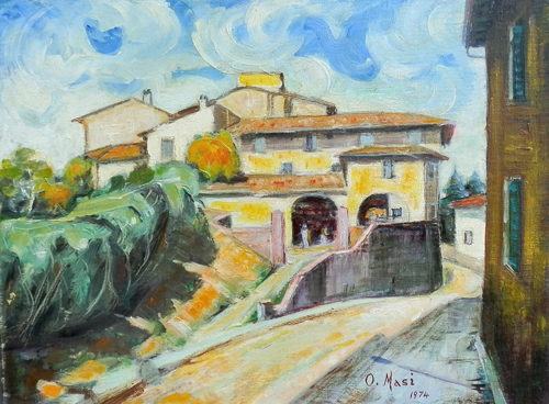 Art work by O. Masi Ponte a Signa,via del Leggio - oil canvas cardboard