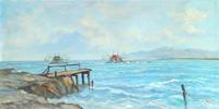 Quadro di  Millus (Mario Illusi) - Bocca d'Arno - Marina di Pisa olio tela