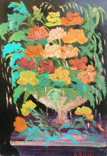 Art work by firma Illeggibile Fiori - oil hardboard