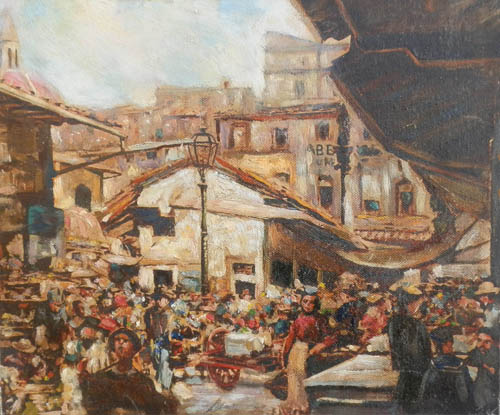 Quadro di firma Illeggibile Composizione figurativa - olio tavola