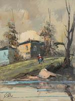 Quadro di S. Stilio - Paesaggio olio faesite