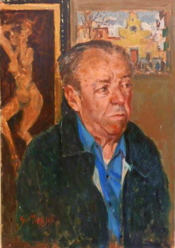 Quadro di Graziano Marsili In memoria del caro amico Rodolfo (ritratto di Rodolfo Marma) - olio tavola