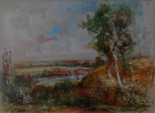 Quadro di Osman Lorenzo De Scolari Paesaggio - olio faesite