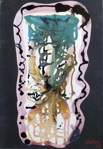 Quadro di Cristoforo Mercati (Krimer) Astratto in movimento - mista cartone