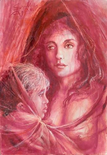 Quadro di firma Illeggibile Maternità in rosso - olio cartone telato