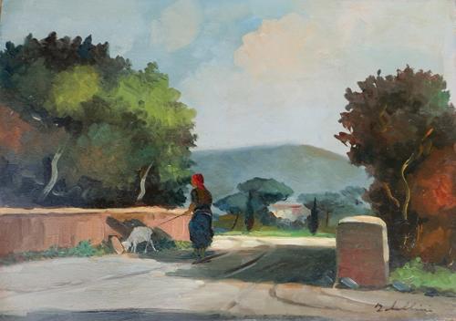 Quadro di Giacomo Tabellini Paesaggio - olio tavola