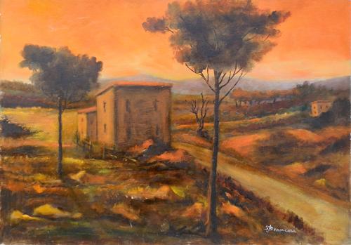 Quadro di Salvo Benincasa Paesaggio con casolare - olio cartone