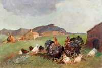 Quadro di Carlo Domenici  Tacchini con polli