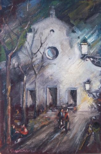 Quadro di Carlo Giannitrapani In Santo Spirito di notte - Pittori contemporanei galleria Firenze Art
