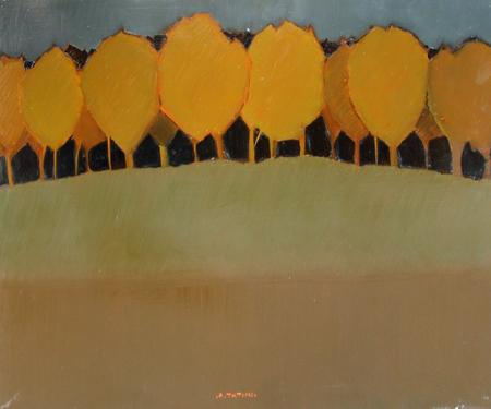 Quadro di Alviero Tatini Campitura con alberi - olio tavola
