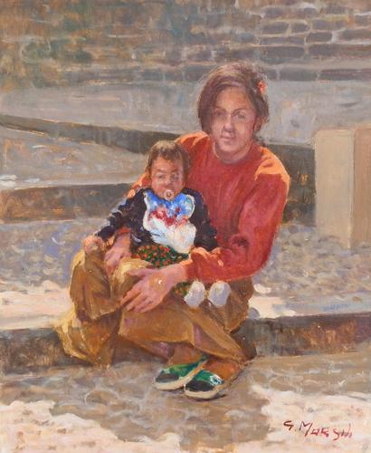 Quadro di Graziano Marsili Donna con bambino - olio cartone