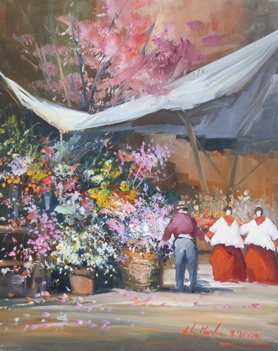Art work by Norberto Martini Al mercato dei fiori - oil table