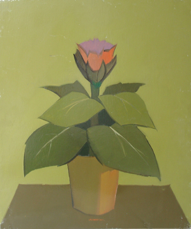 Art work by Alviero Tatini Pianta con Fiore - oil table