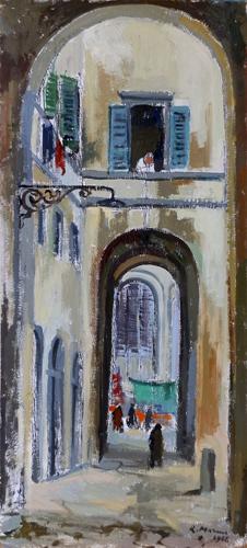 Quadro di Rodolfo Marma Vicolo del gomitolo d'oro - Pittori contemporanei galleria Firenze Art