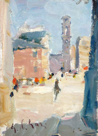 Art work by Gino Paolo Gori Piazza S.Spirito - oil table