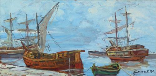 Quadro di Assuero Fogli Paesaggio marino con barche - olio faesite