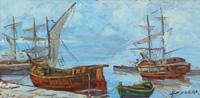 Quadro di Assuero Fogli - Paesaggio marino con barche olio faesite