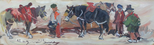 Art work by Basso Ragni Scena campestre  - oil hardboard