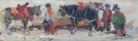 Quadro di Basso Ragni - Scena campestre  olio faesite