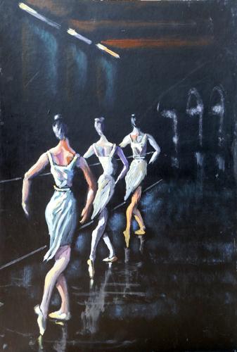 Quadro di Luigi Pignataro Lezione di danza - acrilico cartone