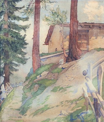 Quadro di  Anonimo Baita di montagna - Pittori contemporanei galleria Firenze Art