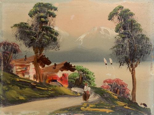 Quadro di firma Illeggibile Lago di montagna - olio tavola