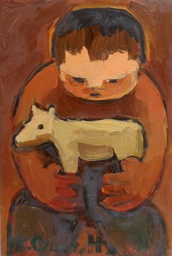 Quadro di T. Chiarotto Bambino - olio tavola