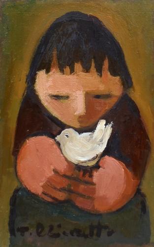 Quadro di T. Chiarotto Bambina con uccello - olio tavola