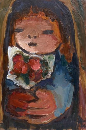 Quadro di T. Chiarotto Bambina con fiori - olio tavola