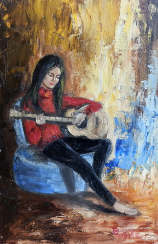 Art work by  Brigida Suonatrice di chitarra - oil canvas cardboard